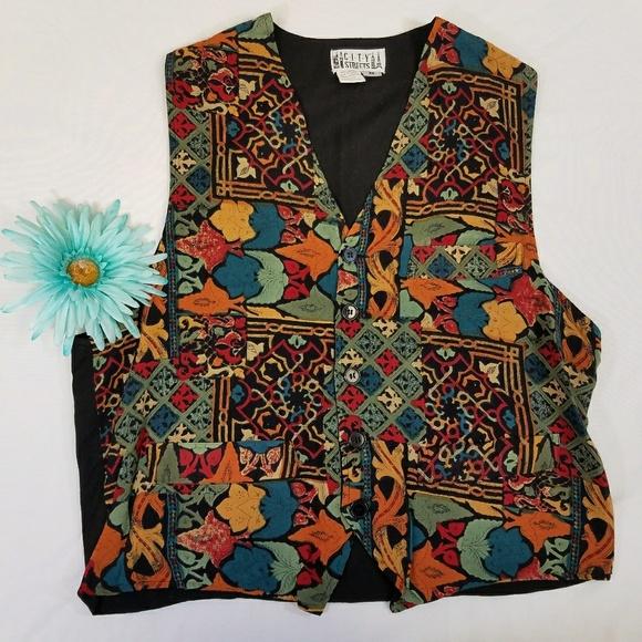 City Streets Jackets & Blazers - Vintage 80s abstract colorful fleur de lis vest